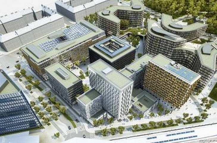 Auf 25.000 Quadratmetern Grundstücksfläche entsteht das Quartier Belvedere Central neben dem Wiener Hauptbahnhof – hier ein Modell. Bild und Copyright: UBM Development.